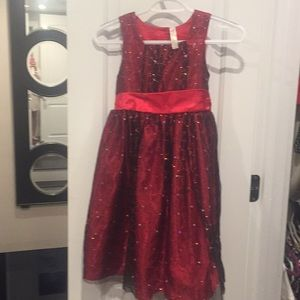 Girls formal glittery red party dress size 8.